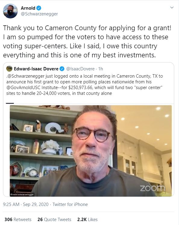 Arnold Schwarzenegger Makes Appearance In Virtual Cameron County Commissioners Meeting Kveo Tv