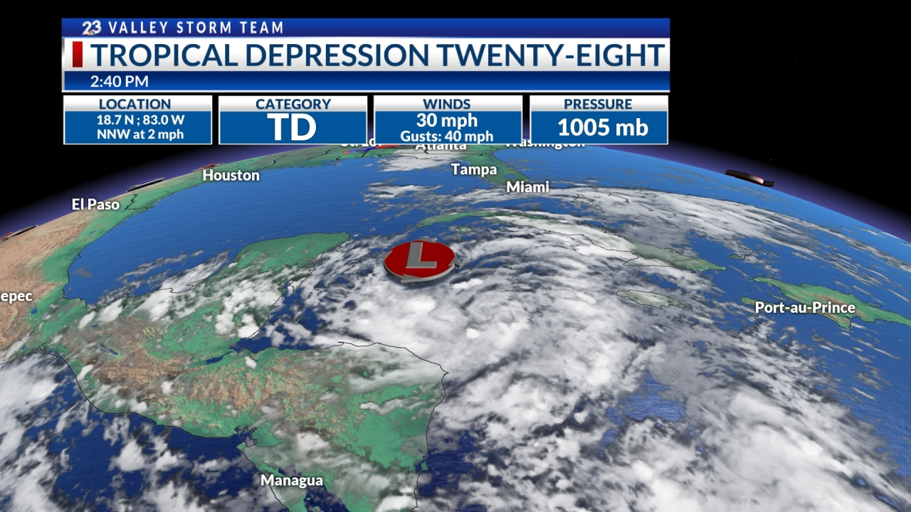Tropical depression twenty-eight forms in the Caribbean
